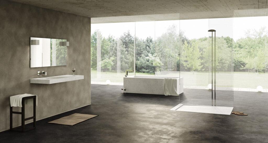 stanza con arredamento in marmo bianco e vasca