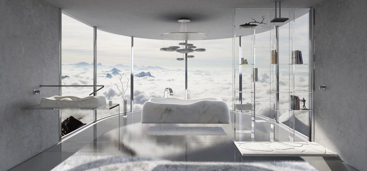 bagno in marmo e cristallo
