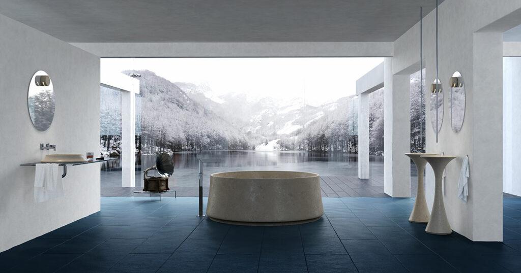 bagno in marmo cremaluna con vasca e lavabi