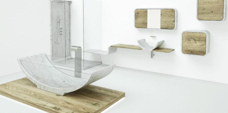 bagno in marmo bianco e legno