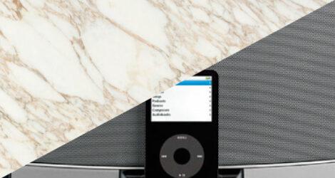 Diffusori audio integrati nel rivestimento in marmo