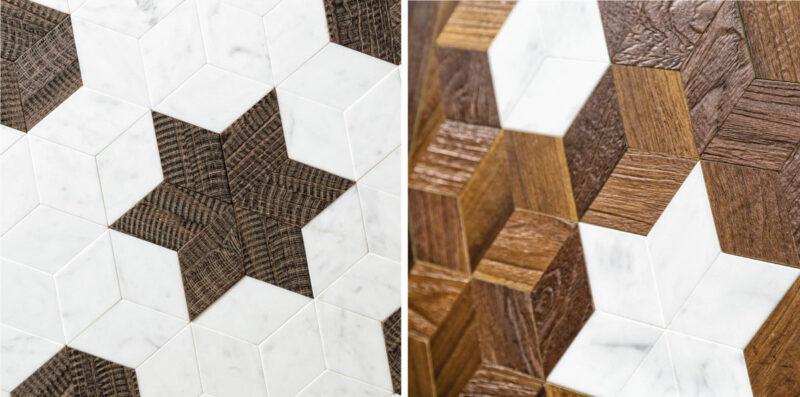 pavimenti e rivestimenti intarsiati in marmo e legno