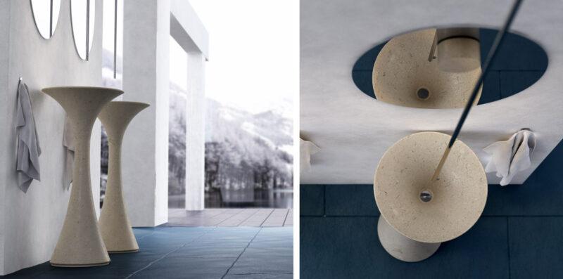 lavabo da terra in marmo cremaluna