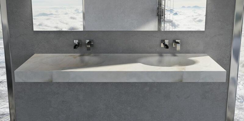 lavandino in marmo bianco calacatta con doppio lavello