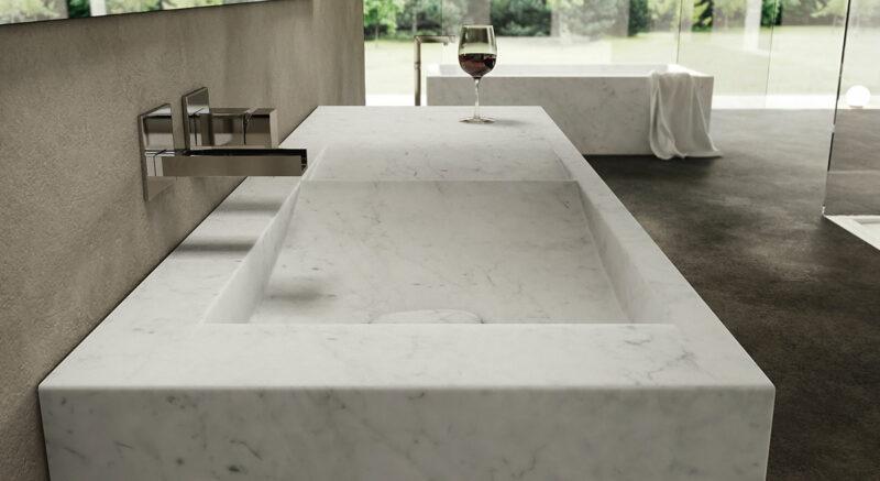 lavabo in marmo bianco personalizzato
