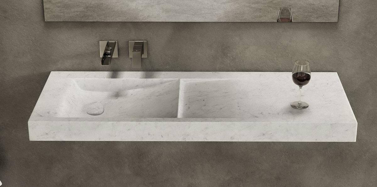 lavandino in marmo squadrato di dedalo