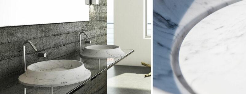 lavabo tondo in marmo bianco di carrara