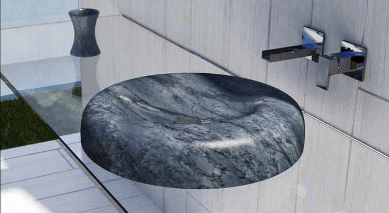 lavandino in marmo bardiglio nuvolato