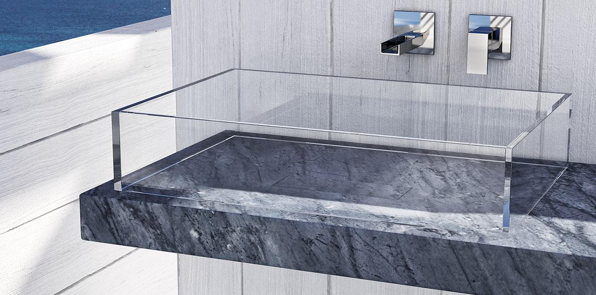 marmo alleggerito con lavabo in vetro
