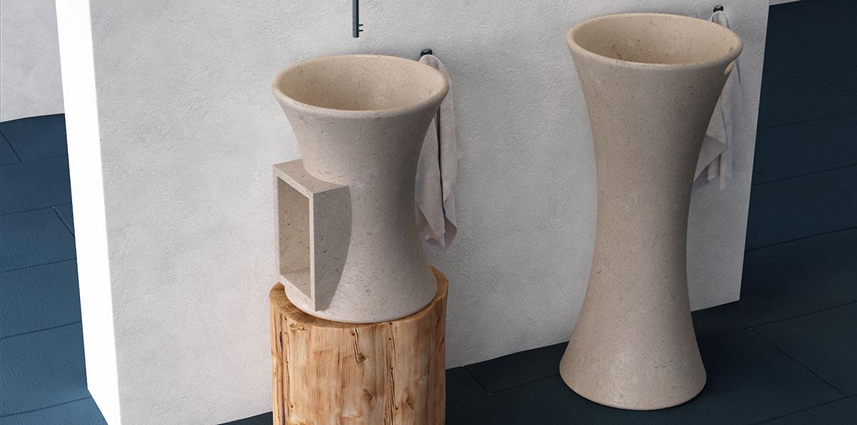 lavandino a colonna realizzato a Carrara
