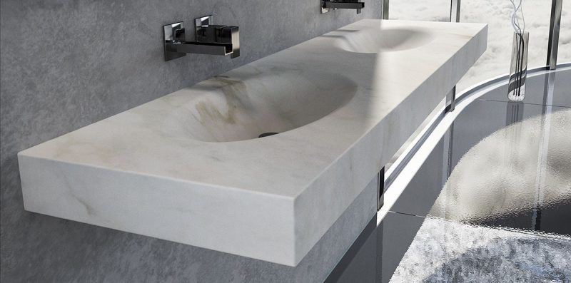 lavabo in marmo bianco a muro