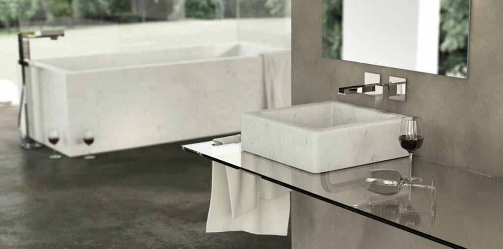 lavandino in marmo bianco quadrato