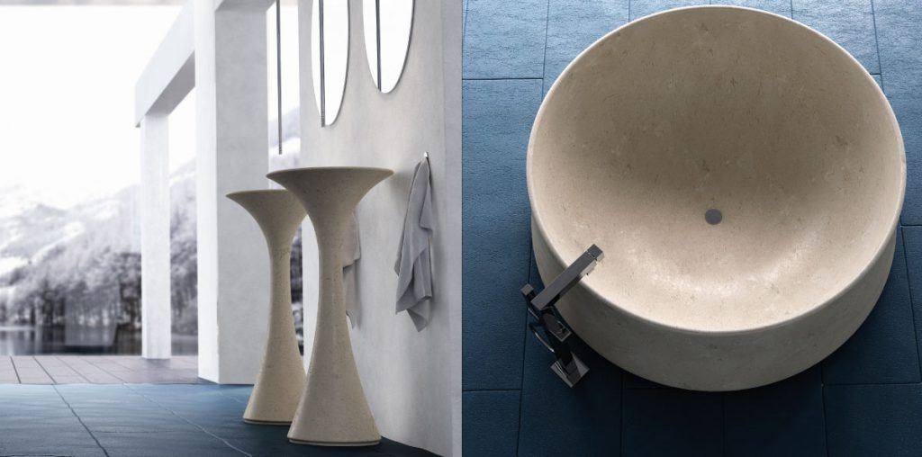 vasca e lavandino in marmo rotondi