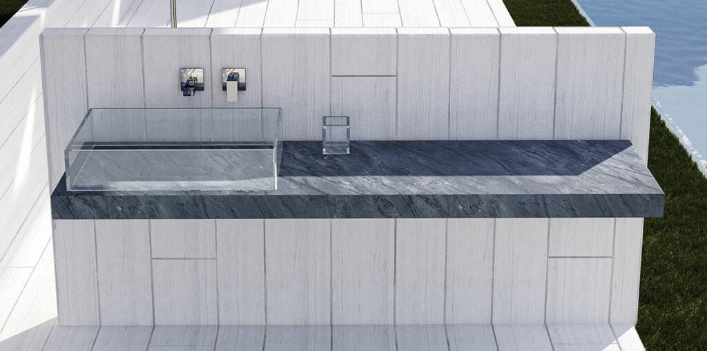 lavandino in vetro con piano in marmo grigio