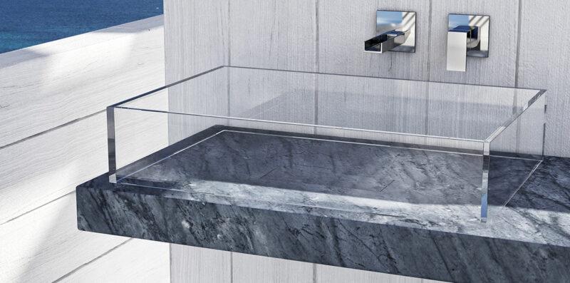lavandino in vetro extra chiaro con piano in marmo