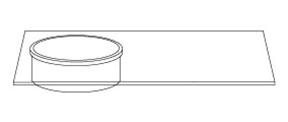 Lavandino Rotondo in Marmo con Piano da appoggio in Vetro – Loto - disegno