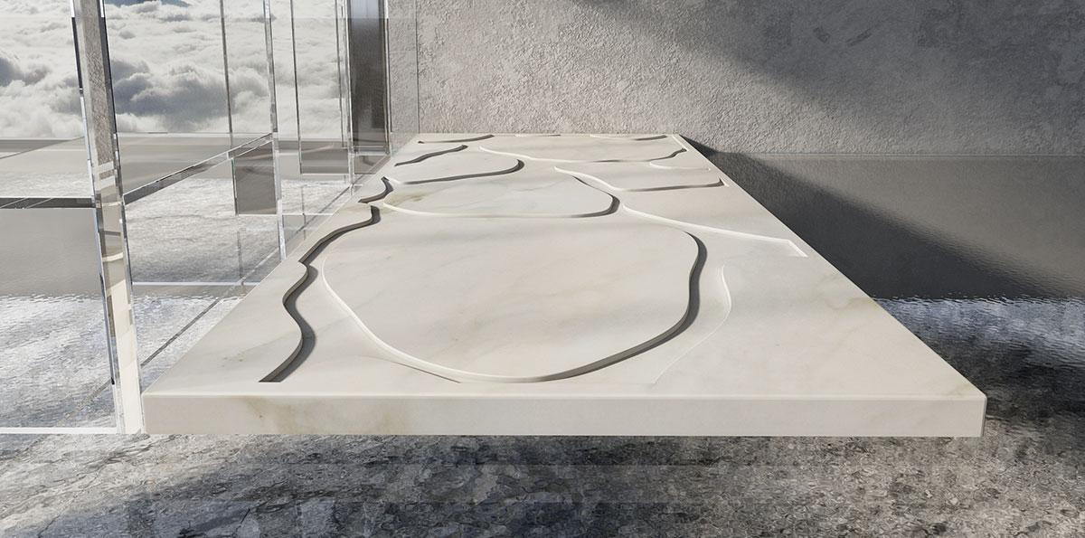 piato doccia in marmo bianco di carrara