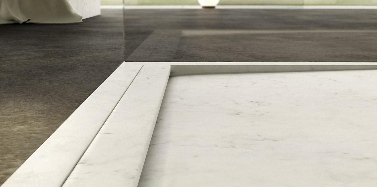 piatto doccia moderno a filo pavimento in marmo