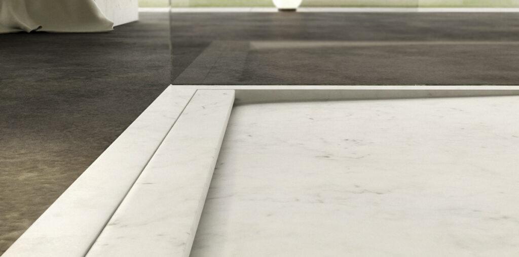 piatto doccia moderno in marmo di carrara