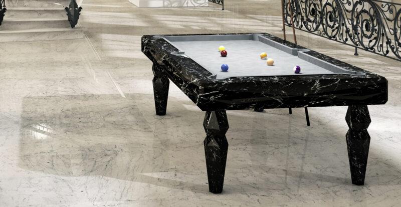 biliardo in marmo nero