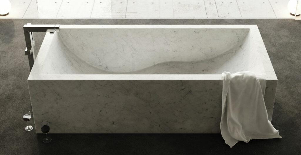 vasca quadrata in marmo alleggerito