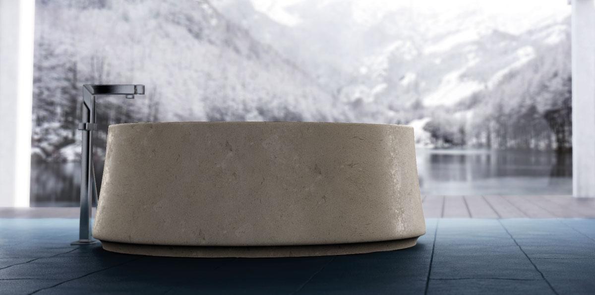 vasca tonda in marmo crema luna