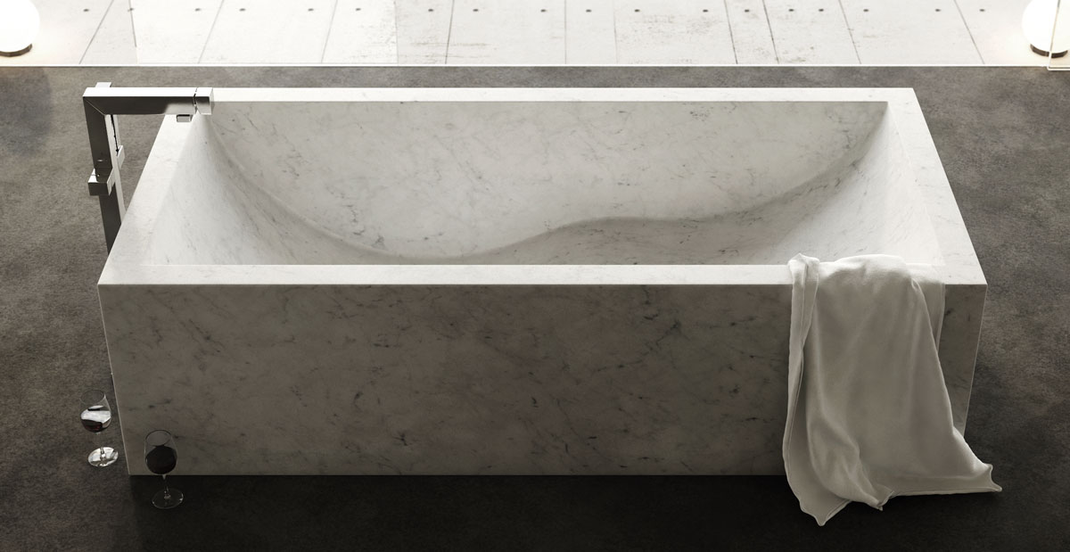 vasca in marmo bianco rettangolare