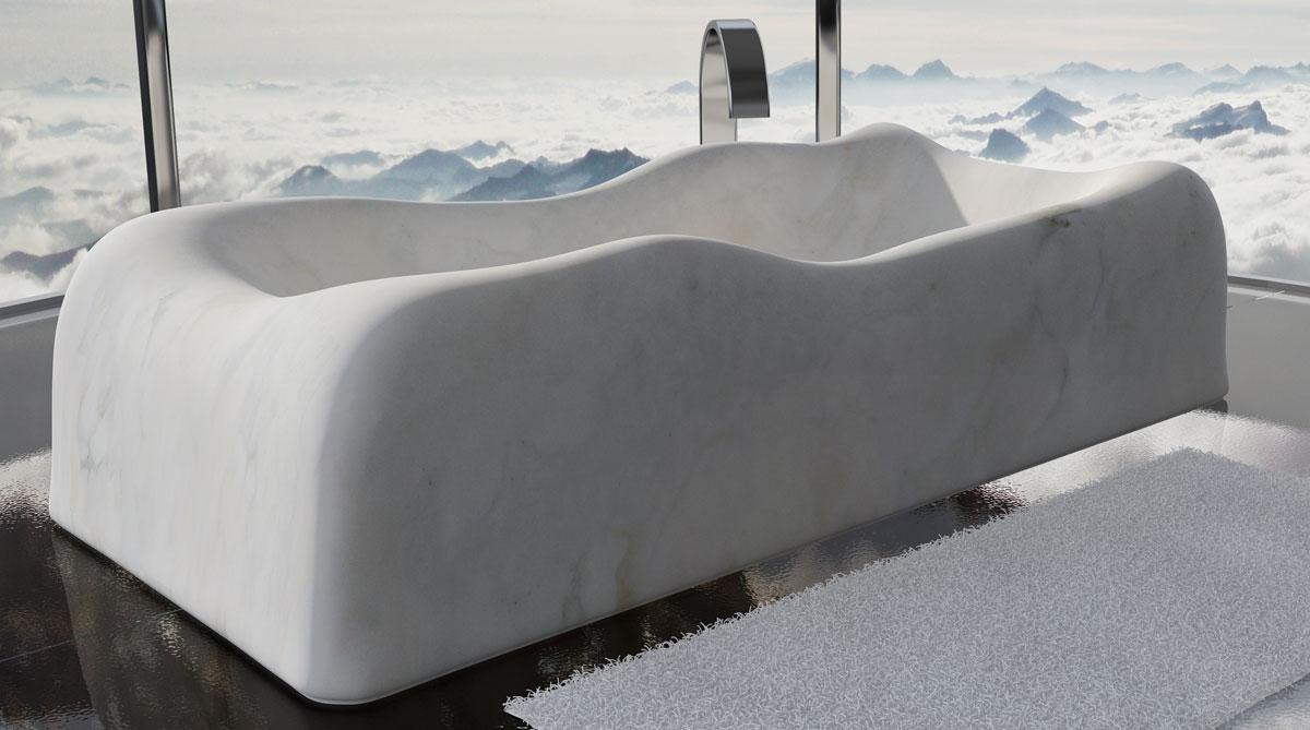 vasca nuvola di Dedalo in marmo bianco carrara