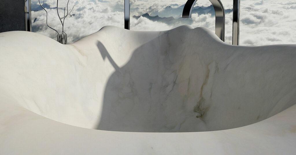 vasca in marmo bianco di lusso