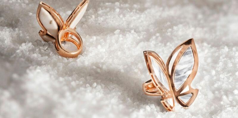 Anelli in oro rosa e marmo