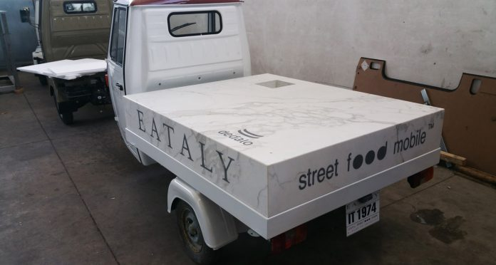 Small Food Truck Marble Inlaid Covering for Eataly Manhattan