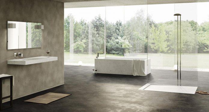 marble bathroom bathtub shower tray and washbasin by dedalo carrara
