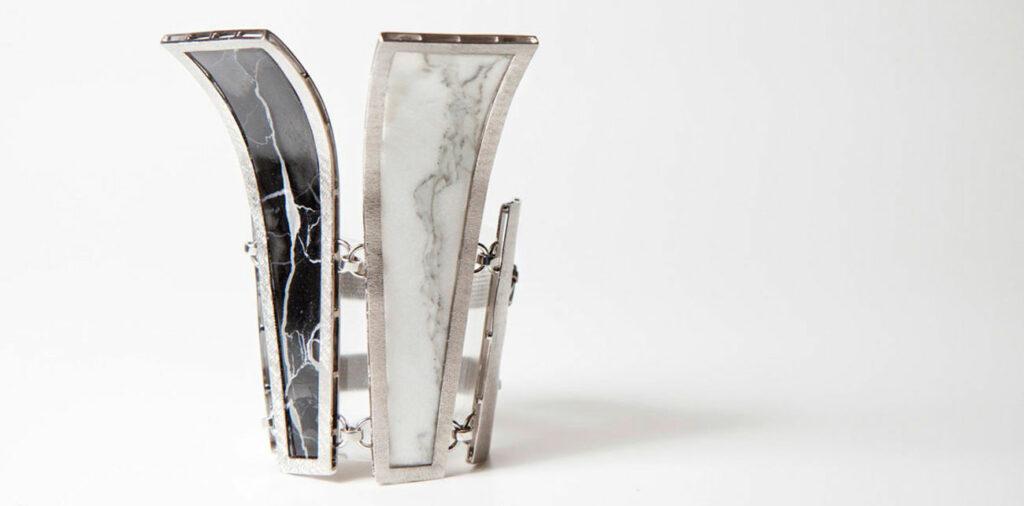 Bracciale in acciaio e marmo