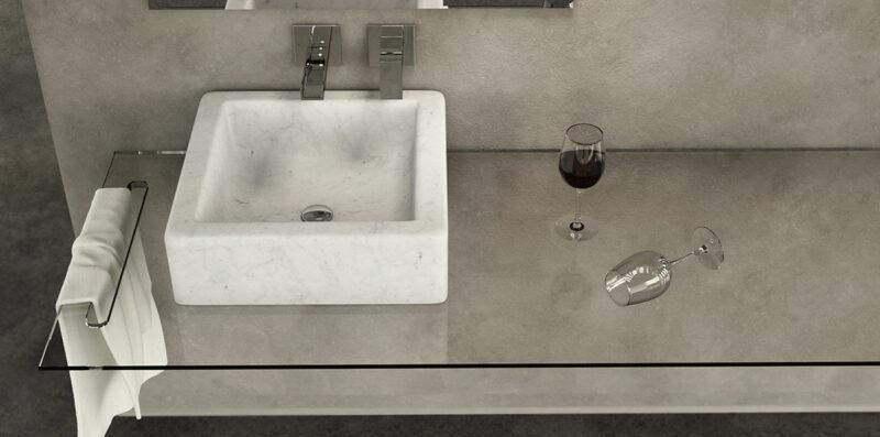 Carrara lightweight marble basin