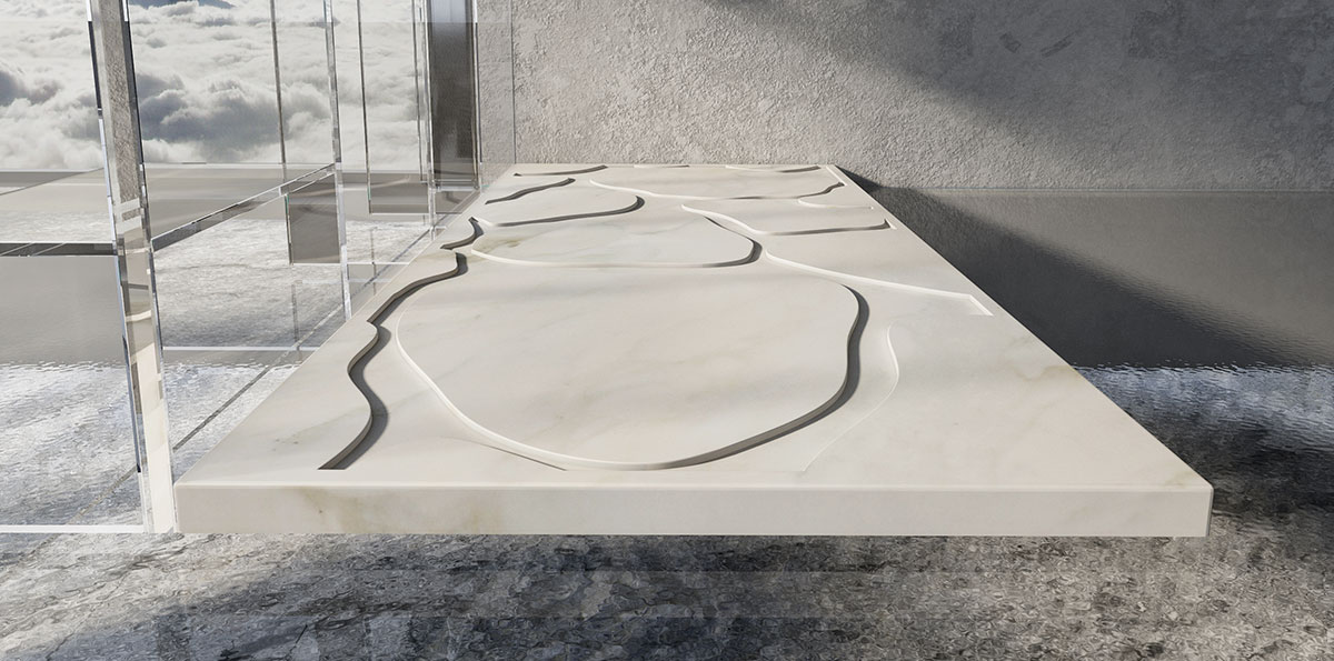Natural White Stone Marble Shower Base Fiume Dedalo Stone