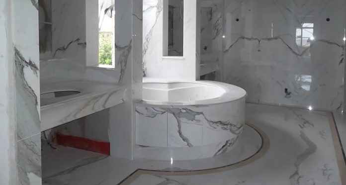 Custom Bathroom in White Carrara Marble with Integrated Large Shower and Bathtub – Islands of Bermuda