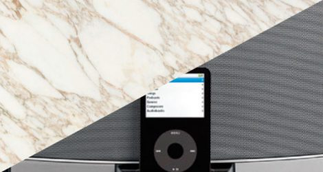 Integrated Audio Speakers in Marble Wall Covering