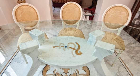 Custom Interior Design in Calacatta Marble for Private Residence  – Carrara, Italy