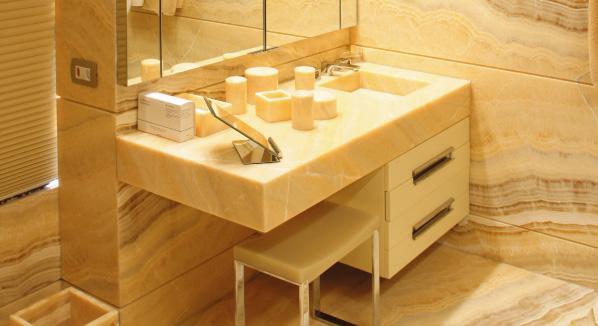 Custom Onyx Bathroom – Shower, Vanity Sink, Open Book Wall and Floor Covering – São Paulo, Brasil