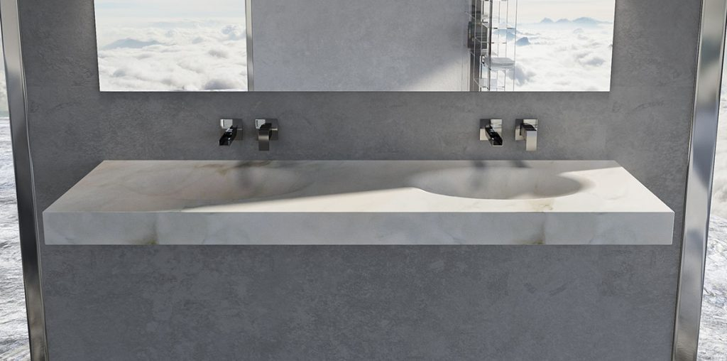 Double Marble Sink Wall Mount Made in Carrara