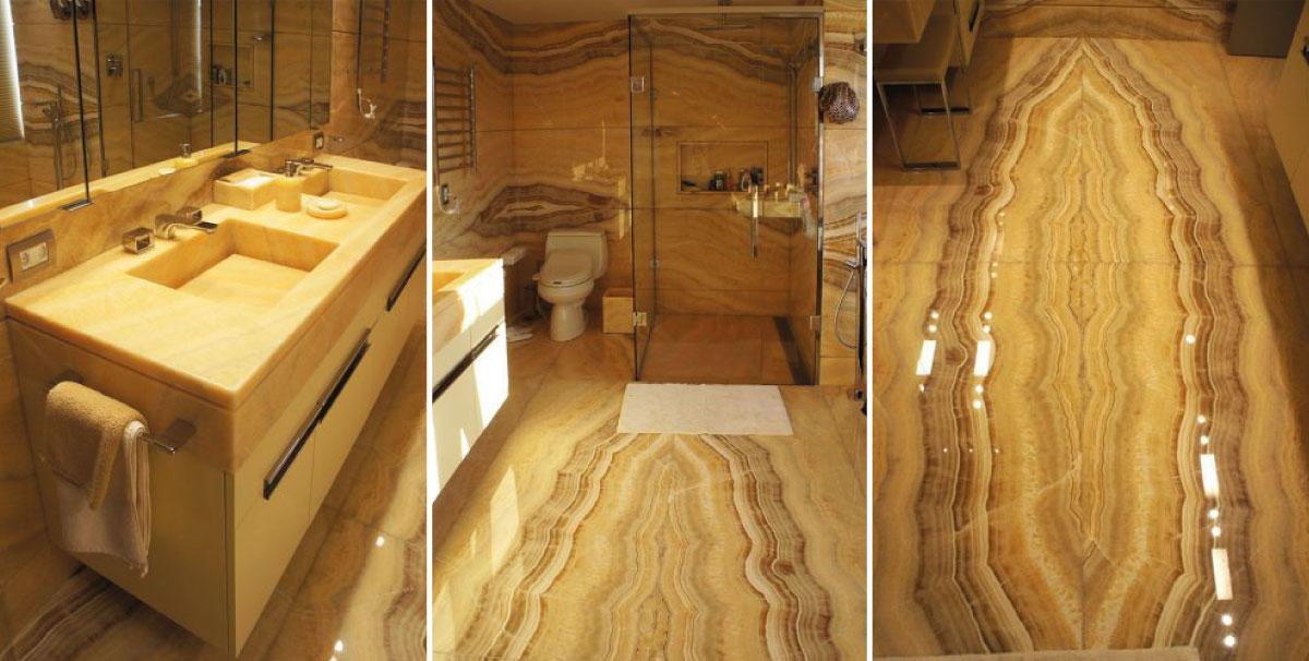 bagno in marmo onice e accessori