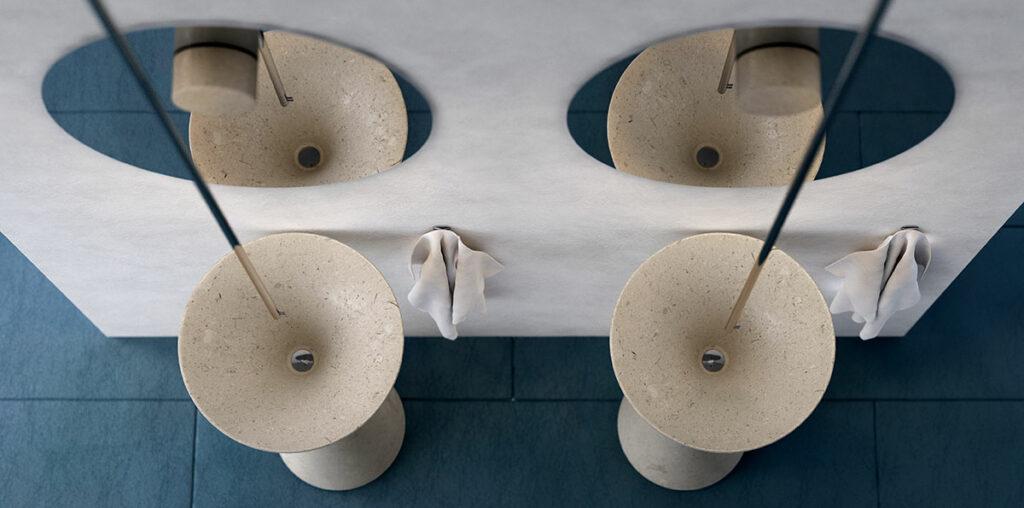 modern free standing stone sink