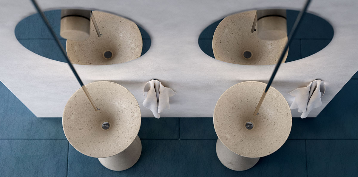 modern free standing stone sink