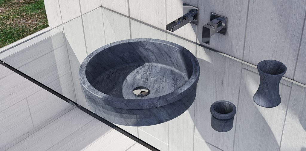 marble bathroom design washbasin and glass