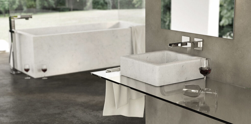 White square Carrara marble basin - Quadra