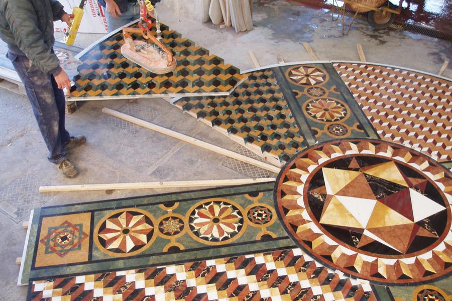 florr with geometric marble inlays