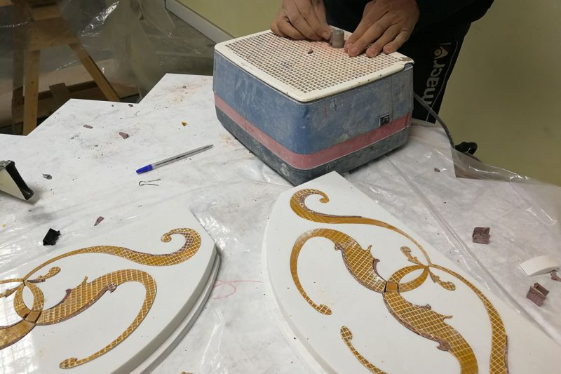 realization of marble decorations and inlays