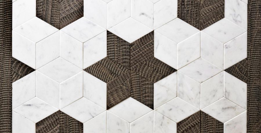 marble and wood inlay decoration