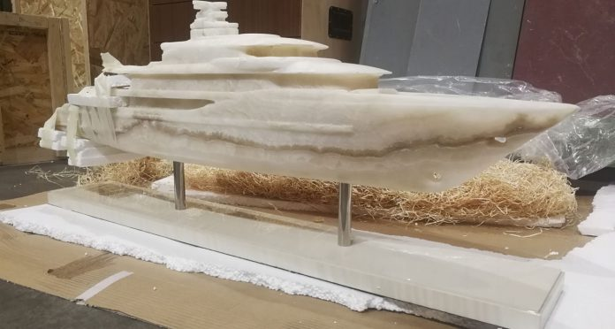 Yacht scale model in marble