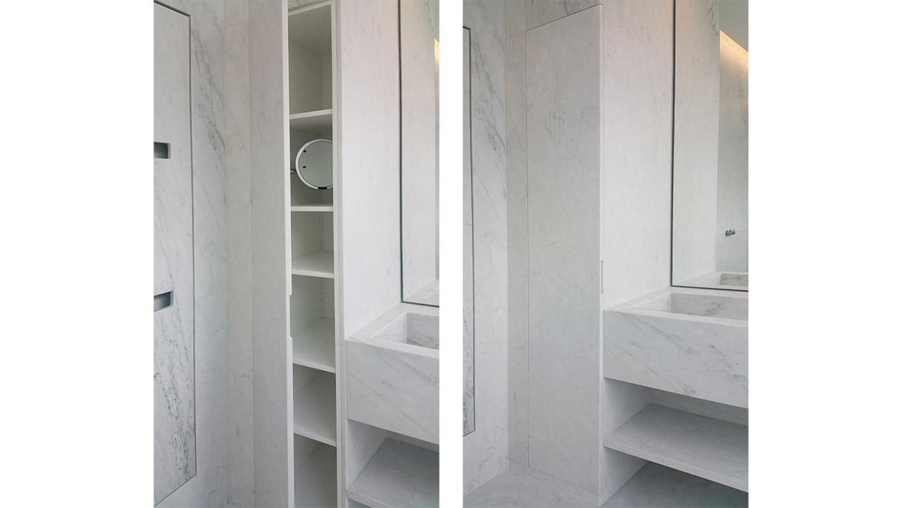 Mobile da bagno in marmo con anta a scomparsa